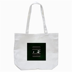I Wasn t Good This Year, I Was Awesome! Ugly Holiday Christmas Green Background Tote Bag (White)