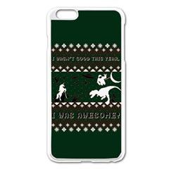 I Wasn t Good This Year, I Was Awesome! Ugly Holiday Christmas Green Background Apple Iphone 6 Plus/6s Plus Enamel White Case