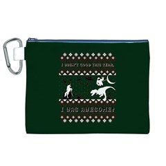 I Wasn t Good This Year, I Was Awesome! Ugly Holiday Christmas Green Background Canvas Cosmetic Bag (xl)
