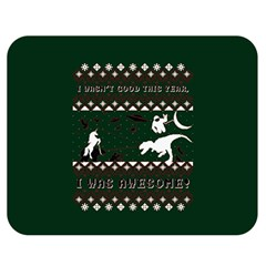 I Wasn t Good This Year, I Was Awesome! Ugly Holiday Christmas Green Background Double Sided Flano Blanket (Medium)