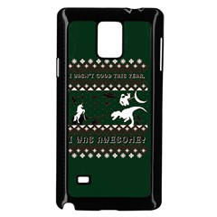 I Wasn t Good This Year, I Was Awesome! Ugly Holiday Christmas Green Background Samsung Galaxy Note 4 Case (Black)