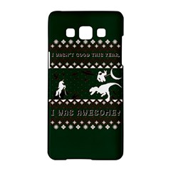 I Wasn t Good This Year, I Was Awesome! Ugly Holiday Christmas Green Background Samsung Galaxy A5 Hardshell Case