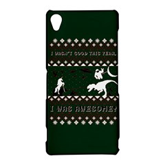 I Wasn t Good This Year, I Was Awesome! Ugly Holiday Christmas Green Background Sony Xperia Z3