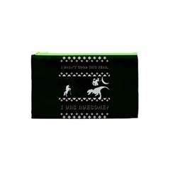 I Wasn t Good This Year, I Was Awesome! Ugly Holiday Christmas Green Background Cosmetic Bag (XS)