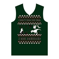 I Wasn t Good This Year, I Was Awesome! Ugly Holiday Christmas Green Background Men s Basketball Tank Top