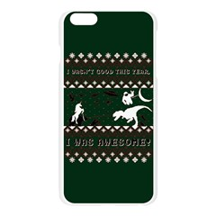 I Wasn t Good This Year, I Was Awesome! Ugly Holiday Christmas Green Background Apple Seamless iPhone 6 Plus/6S Plus Case (Transparent)