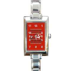 I Wasn t Good This Year, I Was Awesome! Ugly Holiday Christmas Red Background Rectangle Italian Charm Watch