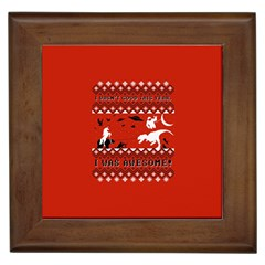 I Wasn t Good This Year, I Was Awesome! Ugly Holiday Christmas Red Background Framed Tiles