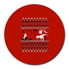 I Wasn t Good This Year, I Was Awesome! Ugly Holiday Christmas Red Background Round Mousepads
