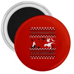 I Wasn t Good This Year, I Was Awesome! Ugly Holiday Christmas Red Background 3  Magnets