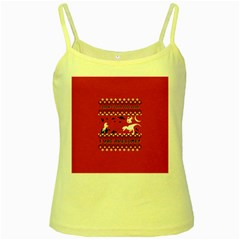 I Wasn t Good This Year, I Was Awesome! Ugly Holiday Christmas Red Background Yellow Spaghetti Tank