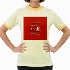 I Wasn t Good This Year, I Was Awesome! Ugly Holiday Christmas Red Background Women s Fitted Ringer T-Shirts