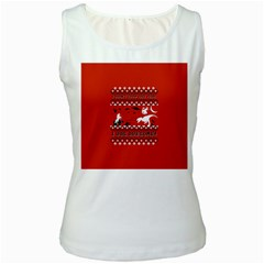 I Wasn t Good This Year, I Was Awesome! Ugly Holiday Christmas Red Background Women s White Tank Top