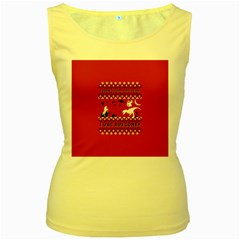 I Wasn t Good This Year, I Was Awesome! Ugly Holiday Christmas Red Background Women s Yellow Tank Top