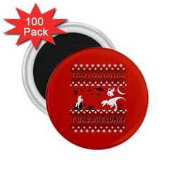 I Wasn t Good This Year, I Was Awesome! Ugly Holiday Christmas Red Background 2.25  Magnets (100 pack)