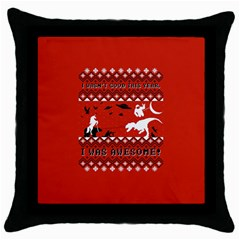 I Wasn t Good This Year, I Was Awesome! Ugly Holiday Christmas Red Background Throw Pillow Case (Black)