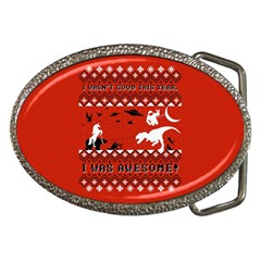 I Wasn t Good This Year, I Was Awesome! Ugly Holiday Christmas Red Background Belt Buckles