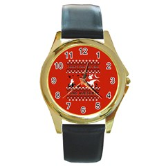 I Wasn t Good This Year, I Was Awesome! Ugly Holiday Christmas Red Background Round Gold Metal Watch