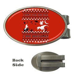 I Wasn t Good This Year, I Was Awesome! Ugly Holiday Christmas Red Background Money Clips (Oval)