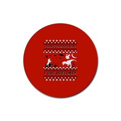 I Wasn t Good This Year, I Was Awesome! Ugly Holiday Christmas Red Background Rubber Round Coaster (4 pack)
