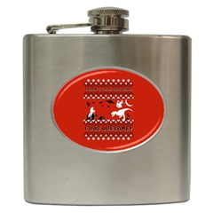 I Wasn t Good This Year, I Was Awesome! Ugly Holiday Christmas Red Background Hip Flask (6 oz)