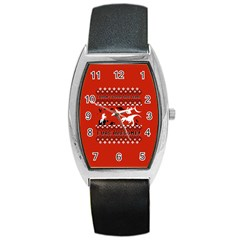 I Wasn t Good This Year, I Was Awesome! Ugly Holiday Christmas Red Background Barrel Style Metal Watch