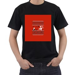 I Wasn t Good This Year, I Was Awesome! Ugly Holiday Christmas Red Background Men s T-Shirt (Black) (Two Sided)