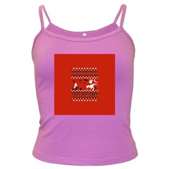 I Wasn t Good This Year, I Was Awesome! Ugly Holiday Christmas Red Background Dark Spaghetti Tank