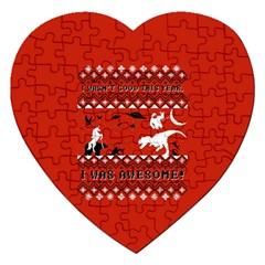 I Wasn t Good This Year, I Was Awesome! Ugly Holiday Christmas Red Background Jigsaw Puzzle (Heart)