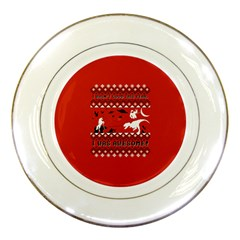 I Wasn t Good This Year, I Was Awesome! Ugly Holiday Christmas Red Background Porcelain Plates