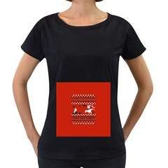 I Wasn t Good This Year, I Was Awesome! Ugly Holiday Christmas Red Background Women s Loose-Fit T-Shirt (Black)