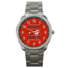 I Wasn t Good This Year, I Was Awesome! Ugly Holiday Christmas Red Background Sport Metal Watch