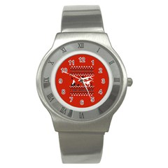 I Wasn t Good This Year, I Was Awesome! Ugly Holiday Christmas Red Background Stainless Steel Watch