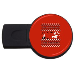 I Wasn t Good This Year, I Was Awesome! Ugly Holiday Christmas Red Background USB Flash Drive Round (4 GB)