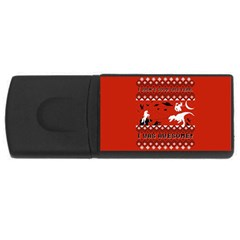 I Wasn t Good This Year, I Was Awesome! Ugly Holiday Christmas Red Background USB Flash Drive Rectangular (4 GB)
