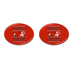 I Wasn t Good This Year, I Was Awesome! Ugly Holiday Christmas Red Background Cufflinks (Oval)