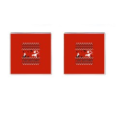 I Wasn t Good This Year, I Was Awesome! Ugly Holiday Christmas Red Background Cufflinks (Square)