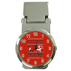I Wasn t Good This Year, I Was Awesome! Ugly Holiday Christmas Red Background Money Clip Watches