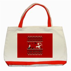 I Wasn t Good This Year, I Was Awesome! Ugly Holiday Christmas Red Background Classic Tote Bag (Red)
