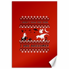 I Wasn t Good This Year, I Was Awesome! Ugly Holiday Christmas Red Background Canvas 12  x 18