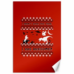 I Wasn t Good This Year, I Was Awesome! Ugly Holiday Christmas Red Background Canvas 24  x 36