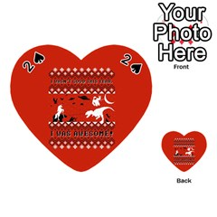 I Wasn t Good This Year, I Was Awesome! Ugly Holiday Christmas Red Background Playing Cards 54 (Heart)