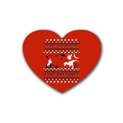 I Wasn t Good This Year, I Was Awesome! Ugly Holiday Christmas Red Background Heart Coaster (4 pack)