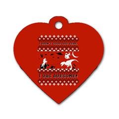 I Wasn t Good This Year, I Was Awesome! Ugly Holiday Christmas Red Background Dog Tag Heart (Two Sides)