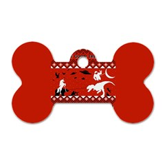 I Wasn t Good This Year, I Was Awesome! Ugly Holiday Christmas Red Background Dog Tag Bone (Two Sides)