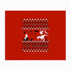 I Wasn t Good This Year, I Was Awesome! Ugly Holiday Christmas Red Background Small Glasses Cloth (2-Side)