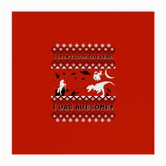 I Wasn t Good This Year, I Was Awesome! Ugly Holiday Christmas Red Background Medium Glasses Cloth