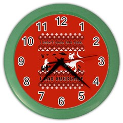 I Wasn t Good This Year, I Was Awesome! Ugly Holiday Christmas Red Background Color Wall Clocks