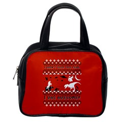 I Wasn t Good This Year, I Was Awesome! Ugly Holiday Christmas Red Background Classic Handbags (One Side)