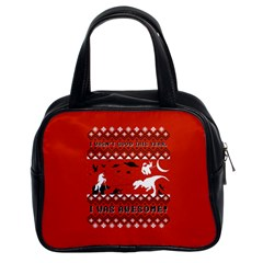 I Wasn t Good This Year, I Was Awesome! Ugly Holiday Christmas Red Background Classic Handbags (2 Sides)